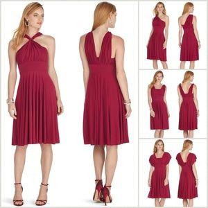 WHBM Merlot Genius Convertible Fit & Flare Dress